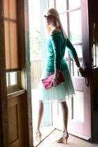 hot pink pouch Express purse - dark brown Dolce & Gabanna sunglasses - teal off