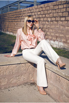 dark brown Dolce & Gabanna sunglasses - ivory Moda pants - peach tie front vinta