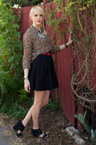 camel leopard print thrifted blouse - black full skirt Mossimo skirt