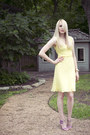 Light-yellow-chiffon-express-dress-teal-mint-green-vintage-blazer