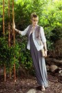 Heather-gray-maxi-norma-kamali-dress-white-thrifted-shirt-camel-chain-strap-