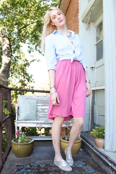pink C&C California dress - light blue oxford Old Navy shirt