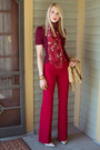 Brick-red-cherry-blossom-vintage-scarf-red-flare-victorias-secret-pants