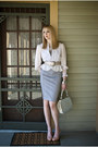Silver-structured-vintage-bag-heather-gray-pencil-express-skirt-silver-peplu