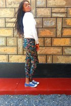 tribal Forever 21 leggings - chucks Converse shoes - sequins Forever 21 cardigan