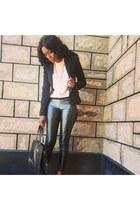 leather Forever 21 pants - Mango bag - chiffon Forever 21 blouse