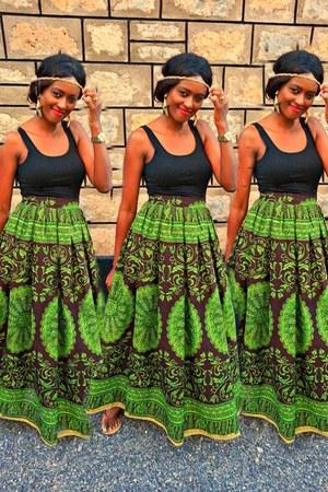 high waist maxi African print skirt