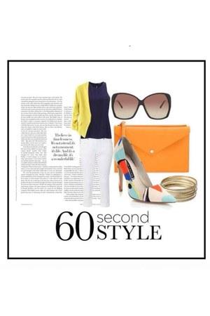 white pants - white pants - yellow blazer - navy top - carrot orange pumps