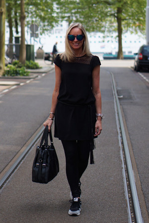 Zara dress - H&M leggings - Polette sunglasses - Zara belt - nike sneakers