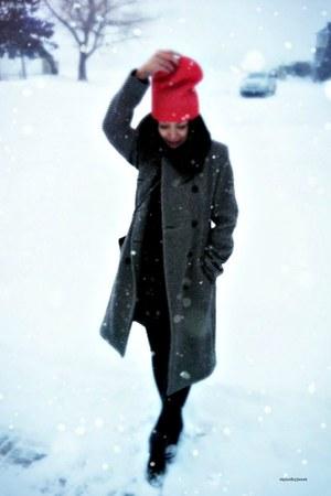 charcoal gray zebra print Club Monaco coat - red beanie Gap hat