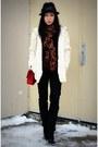 Black-hudson-jeans-red-255-jumbo-chanel-bag-white-club-monaco-cardigan
