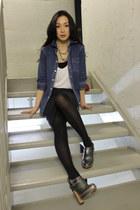 blue Ralph Lauren shirt - dark gray Alexander Wang skirt - silver Modern Vintage
