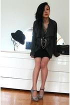 charcoal gray Rick Owens jacket - black 255 jumbo Chanel bag