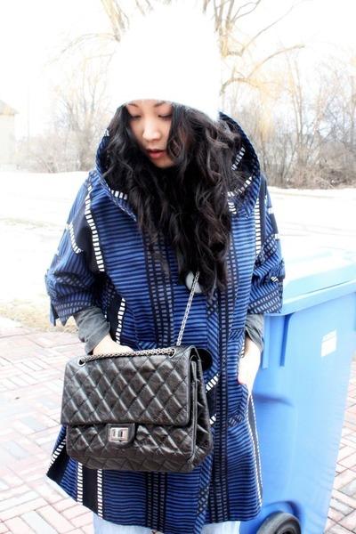 blue Marc Jacobs coat - ivory beanie Gap hat - black 255 jumbo Chanel bag