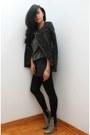 Charcoal-gray-lizzard-ankle-alaia-boots-dark-gray-tweed-moto-zara-jacket