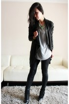 black shearling wedge PROENZA SCHOULER boots - black leather vsp jacket
