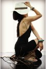 Black-backless-alexander-wang-dress-turquoise-blue-spiked-pamela-love-bracelet