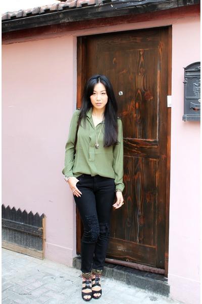 Olive Green Gap Blouses, Black J Brand Jeans, Brown Constance Bag ...