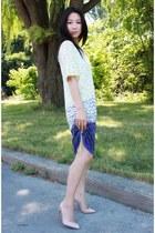 violet knitted BCBG dress - neutral slingback Christian Louboutin heels