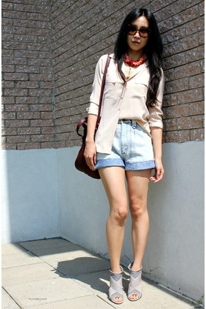 periwinkle denim vintage shorts - crimson Alexander Wang bag