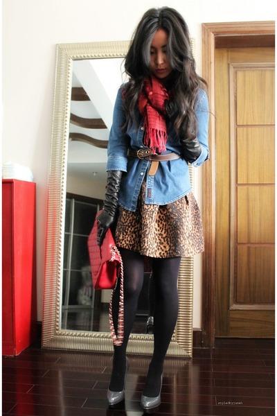 Periwinkle Denim Ralph Lauren Shirt Ruby Red 255 Jumbo Chanel Bag