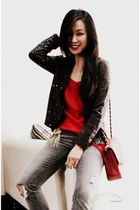 charcoal gray sequin jacket Zara jacket - ruby red 255 jumbo Chanel bag