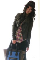 dark gray leather jacket Rick Owens jacket - blue cobalt mini Celine bag