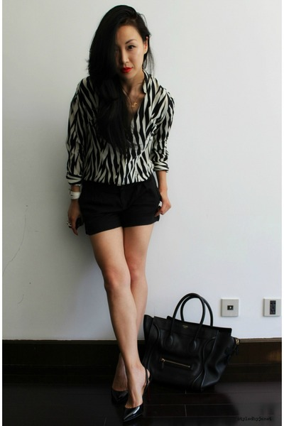 white silk zebra Winter Kate blouse - black mini luggage Celine bag