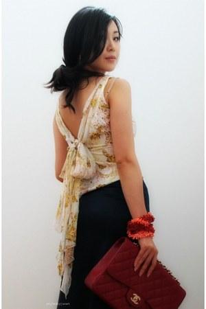 cream dvf top - brick red Chanel bag - navy Club Monaco skirt