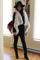 cream Zara vest - black BCBG sweater - black Rich&Skinny pants - crimson balenci