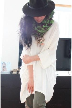 army green fedora Gap hat - white vintage blouse