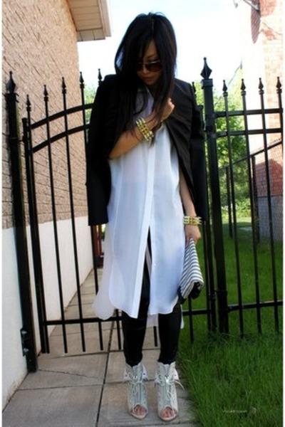 ivory freja Alexander Wang boots - black tuxedo BCBG jacket