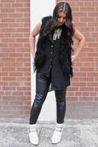 cream Michael Kors boots - black H&M blouse - cream handmade necklace
