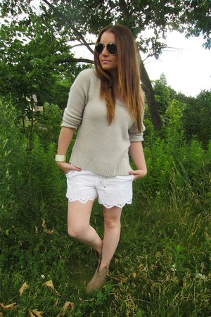 white Club Monaco shorts - ivory Club Monaco sweater - off white Akira bracelet