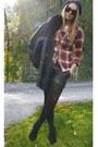 Black-topshop-jacket-red-h-m-shirt-black-tart-shorts-steve-madden-wedges