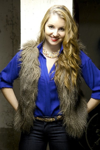 brown Buffalo vest - blue modcloth shirt