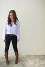 Periwinkle-christian-dior-blouse-dark-brown-nine-west-boots
