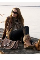 black Uniqlo jeans - dark brown Soia and Kyo jacket - peach H&M blouse