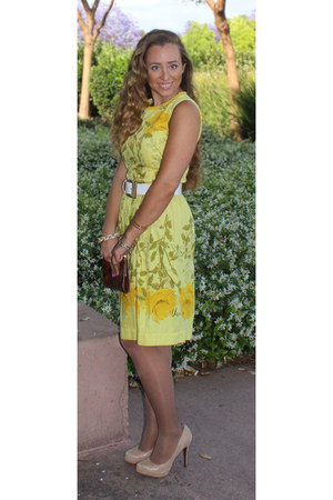 yellow dress - beige BCBGMAXAZRIA shoes - white belt