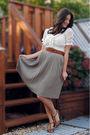 Zara-skirt-beige-thrifted-shirt-brown-banana-republic-belt-brown-target-sh