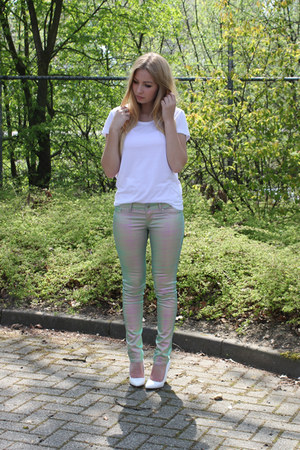 lime green H&M pants - white H&M Trend wedges