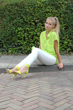 H&M leggings - chartreuse Monki blouse - H&M heels