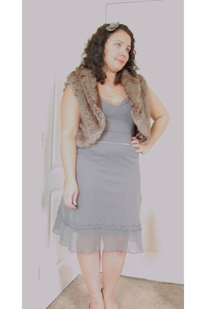 shoes - beige mesh sandwich dress - Marks and Spencers jacket