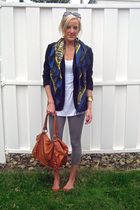 thrifted blazer - H&M top - thrifted scarf - leggings - Target shoes - Urban Out