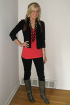 Forever 21 top - thrifted blazer - Forever 21 jeans - moms necklace - Target boo