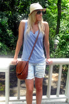 blue top - blue shorts - brown purse