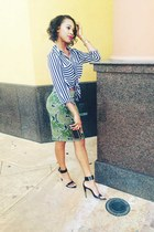 black purse - lime green h&m divided skirt - black heels - white Forever 21 top