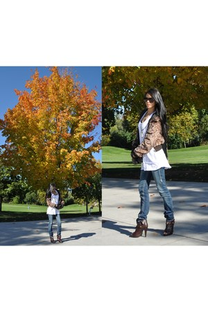 duchess boots - True Religion jeans - H&M jacket - bcbg max azria sunglasses