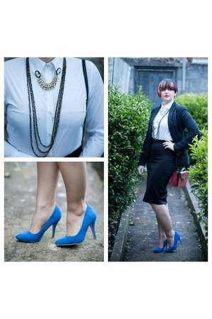 blue Primark shoes - red vintage bag - white Stradivarius blouse