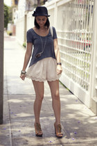 H&M shorts - bowler hat H&M hat - peep toe Aldo wedges